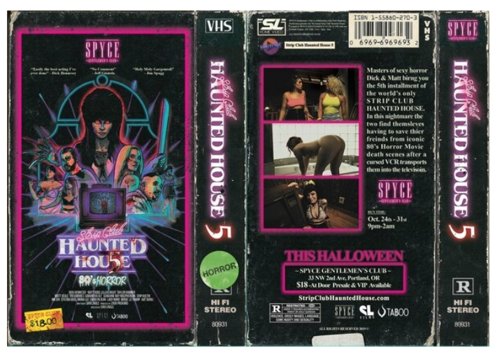 """The mock VHS cover of the """"Strip Club Haunted House"""" movie"""