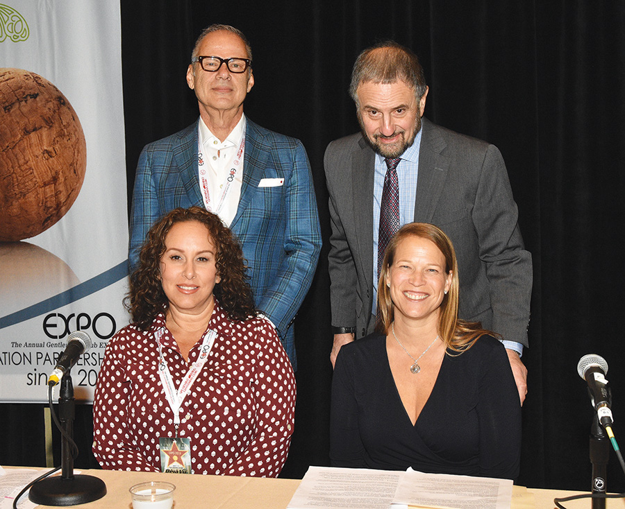 Expo 2019 Legal Panel. Top row (L-R): Carouba and Kaplan. Bottom row (L-R): Vercher and Bokmuller